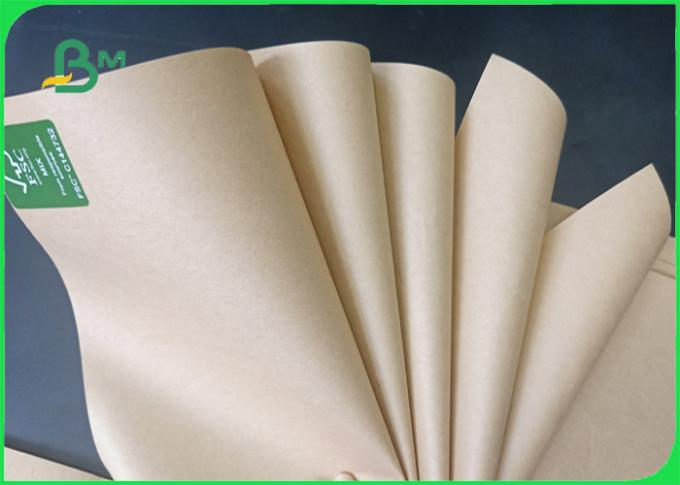 Width 70*100cm tear resistant smooth surface 70 - 80g brown FDA kraft paper in roll